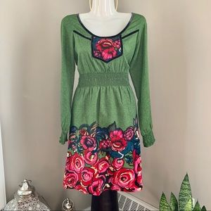 🌺2/$20 - Boho Mexican Floral Accent Dress